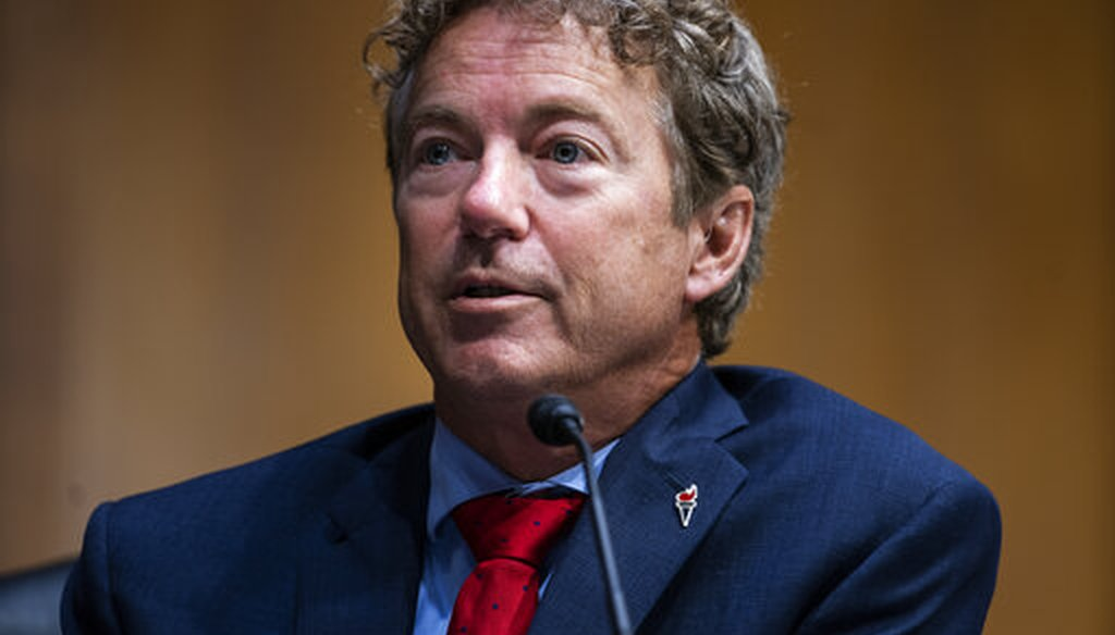 Sen. Rand Paul, R-Ky., questions Secretary of State Mike Pompeo during a Senate Foreign Relations committee hearing on the State Department's 2021 budget on Capitol Hill, July 30, 2020, in Washington. (Jim Lo Scalzo/Pool via AP)