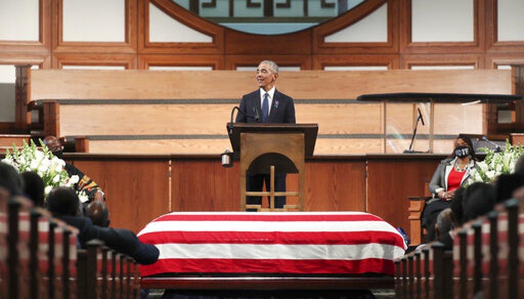 Former President Barack Obama speaks during the funeral for the late Rep. John Lewis, D-Ga., in Atlanta on July 30, 2020. (Atlanta Journal-Constitution via AP, Pool)