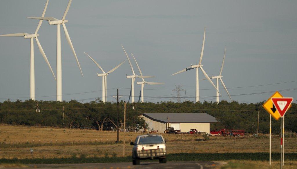 Wind turbines are shown on July 29, 2020, near Sweetwater, Texas. (AP/Gutierrez)