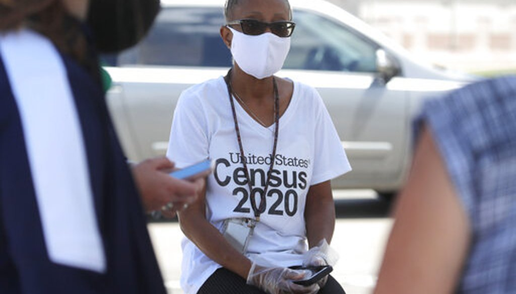 Census worker Jennifer Pope wears a mask at a U.S. Census walk-up counting site in Greenville, Texas, on July 31, 2020. (AP)