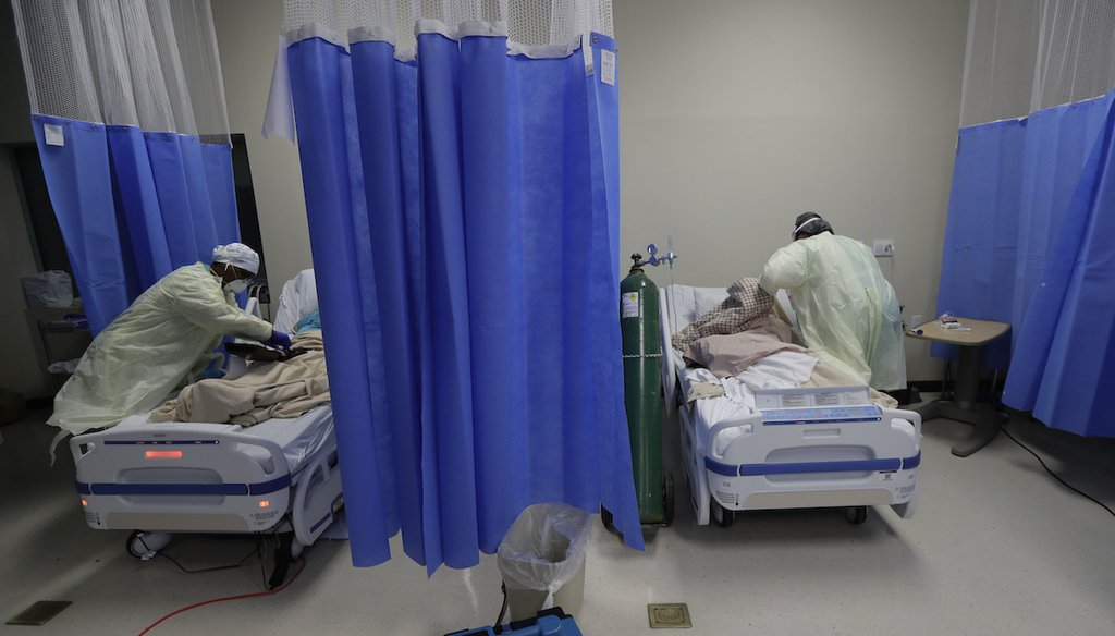 Medical personnel watch over COVID-19 patients at DHR Health, July 29, 2020, in McAllen, Texas. (AP)