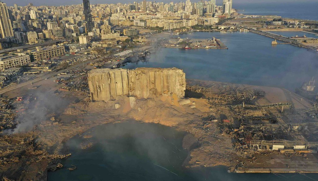 A drone picture shows the scene of an explosion that hit the seaport of Beirut, Lebanon, on Aug. 5, 2020. (AP)