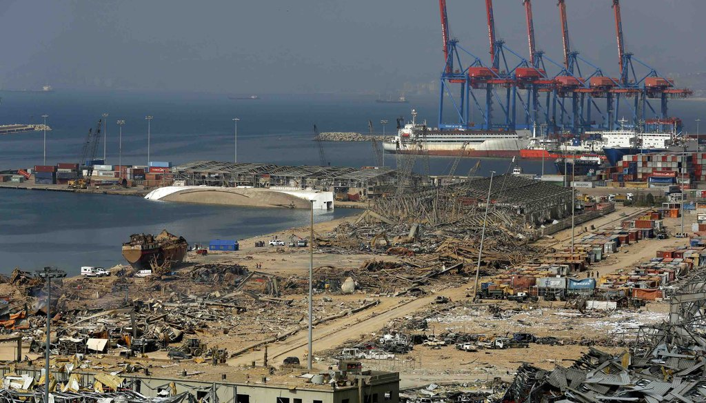 Beirut's port area lies in ruins following a massive explosion on Aug. 4, 2020. (AP)