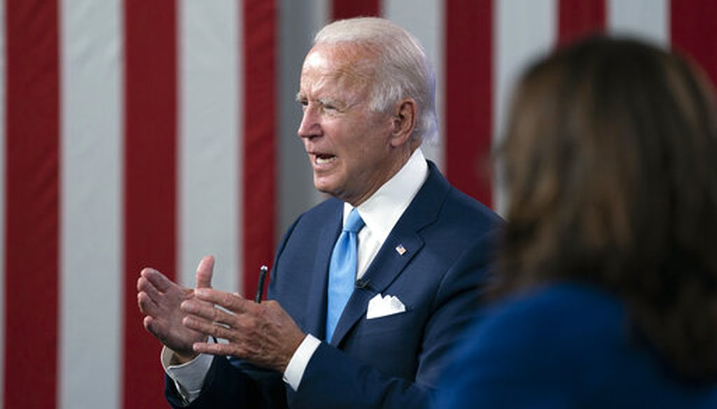 Democratic presidential candidate and former Vice President Joe Biden and his running mate Sen. Kamala Harris, D-Calif., participate in a virtual fundraiser at the Hotel DuPont in Wilmington, Del., on Aug. 12, 2020. (AP/Kaster)