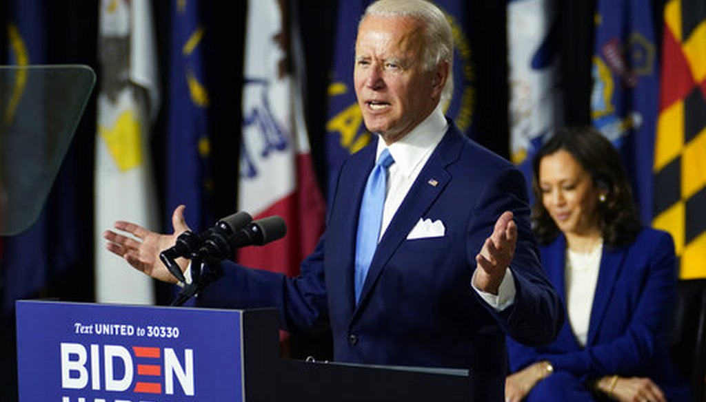 Democratic presidential candidate former Vice President Joe Biden joined by his running mate Sen. Kamala Harris, D-Calif., speaks during a campaign event at Alexis Dupont High School in Wilmington, Del., Aug. 12, 2020. (AP/Carolyn Kaster)