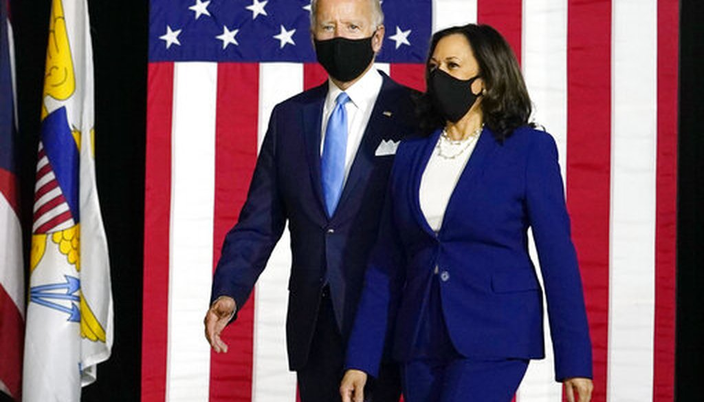Democratic presidential candidate former Vice President Joe Biden and his running mate Sen. Kamala Harris, D-Calif., arrive to speak at a news conference at Alexis Dupont High School in Wilmington, Del., Aug. 12, 2020. (AP/Carolyn Kaster)