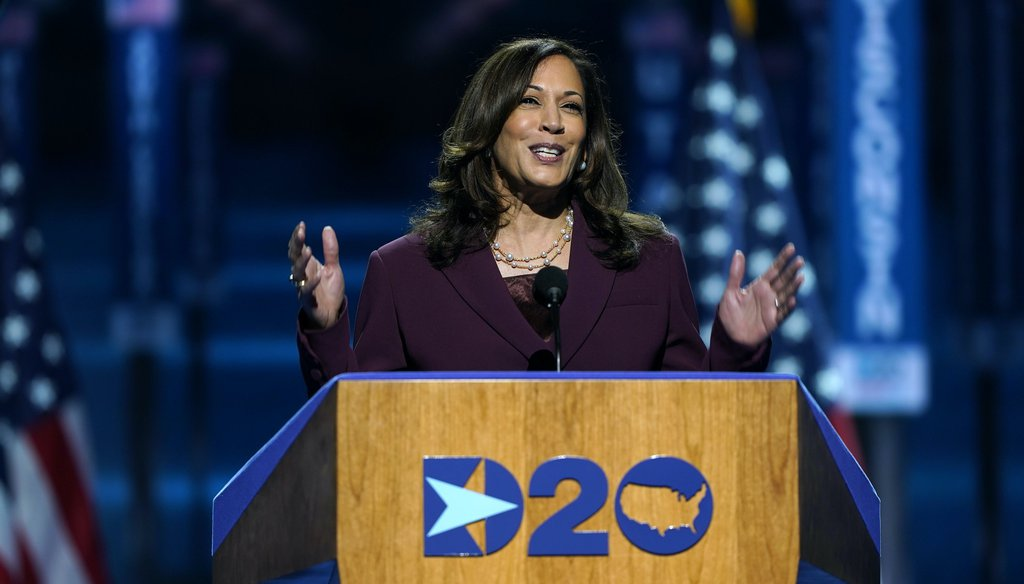 Democratic vice presidential candidate Sen. Kamala Harris, D-Calif., speaks during the third day of the Democratic National Convention on Aug. 19, 2020, at the Chase Center in Wilmington, Del. (AP)