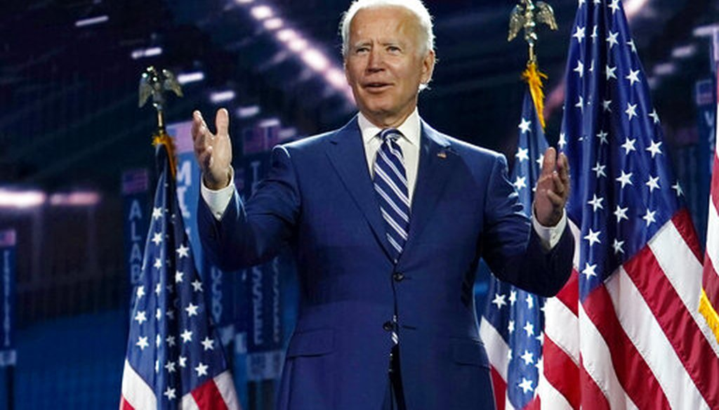 Democratic presidential candidate and former Vice President Joe Biden stands on stage during the third day of the Democratic National Convention in Wilmington, Del., on Aug. 19, 2020,  (AP/Kaster)