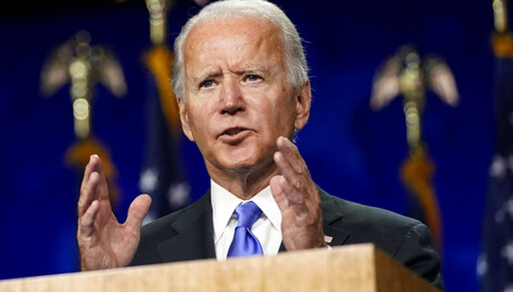 Democratic presidential candidate and former Vice President Joe Biden speaks during the Democratic National Convention on Aug. 20, 2020, at the Chase Center in Wilmington, Del. (AP/Harnik)