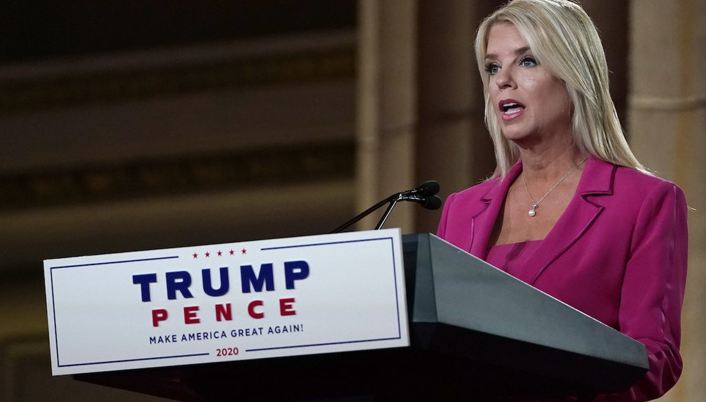 Former Florida Attorney General Pam Bondi speaks during the second day of the Republican National Convention from the Andrew W. Mellon Auditorium in Washington on Aug. 25, 2020. (AP)