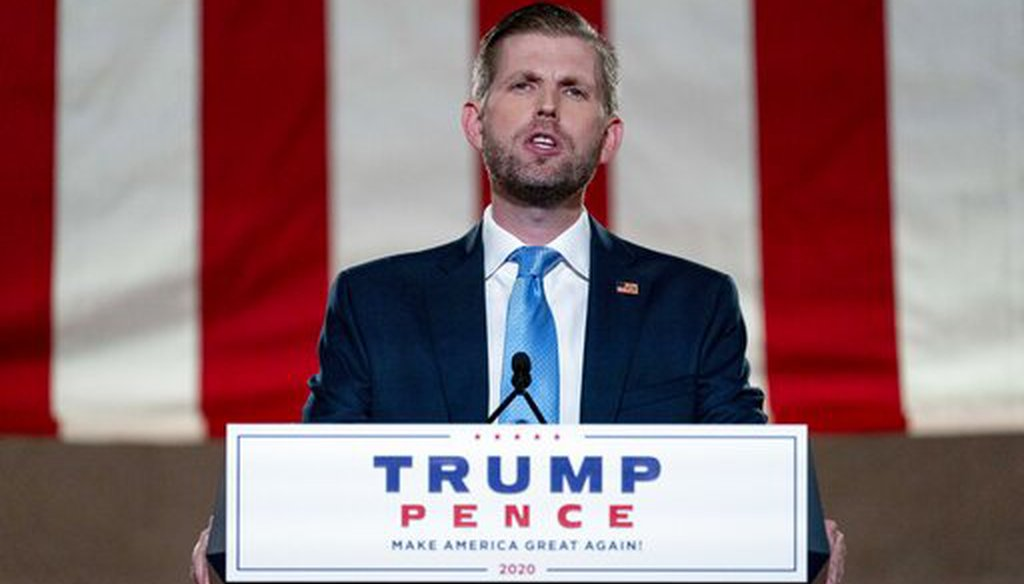 Eric Trump, the son of President Donald Trump, tapes his speech for the Republican National Convention from the Andrew W. Mellon Auditorium in Washington on Aug. 25, 2020. (AP/Harnik)