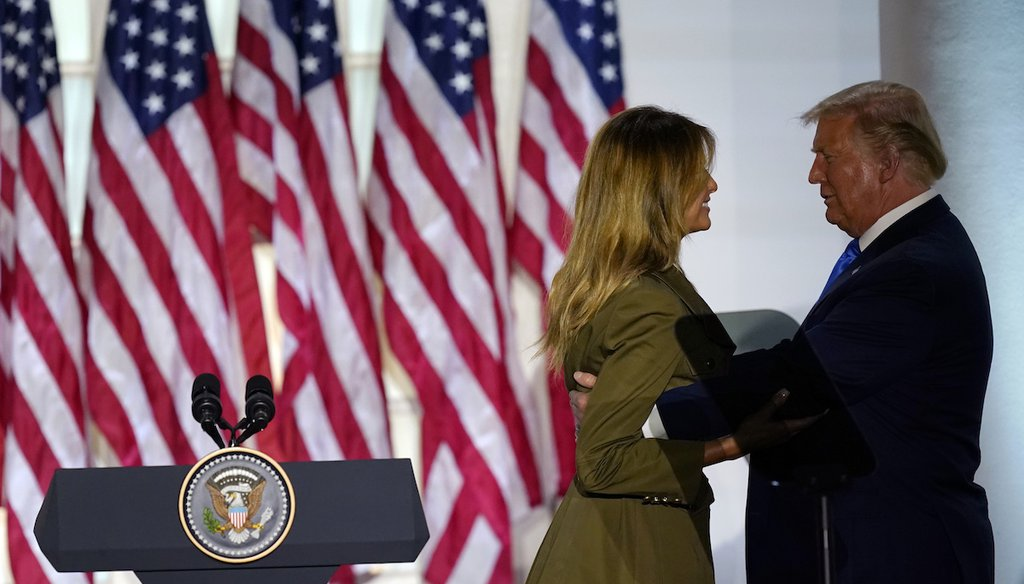 President Donald Trump joins first lady Melania Trump on stage after her speech to the 2020 Republican National Convention from the Rose Garden of the White House Aug. 25, 2020, in Washington. (AP)