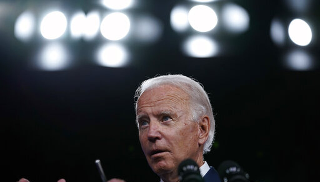 Democratic presidential candidate Joe Biden speaks in Wilmington, Del., on Sept. 2, 2020. (AP)