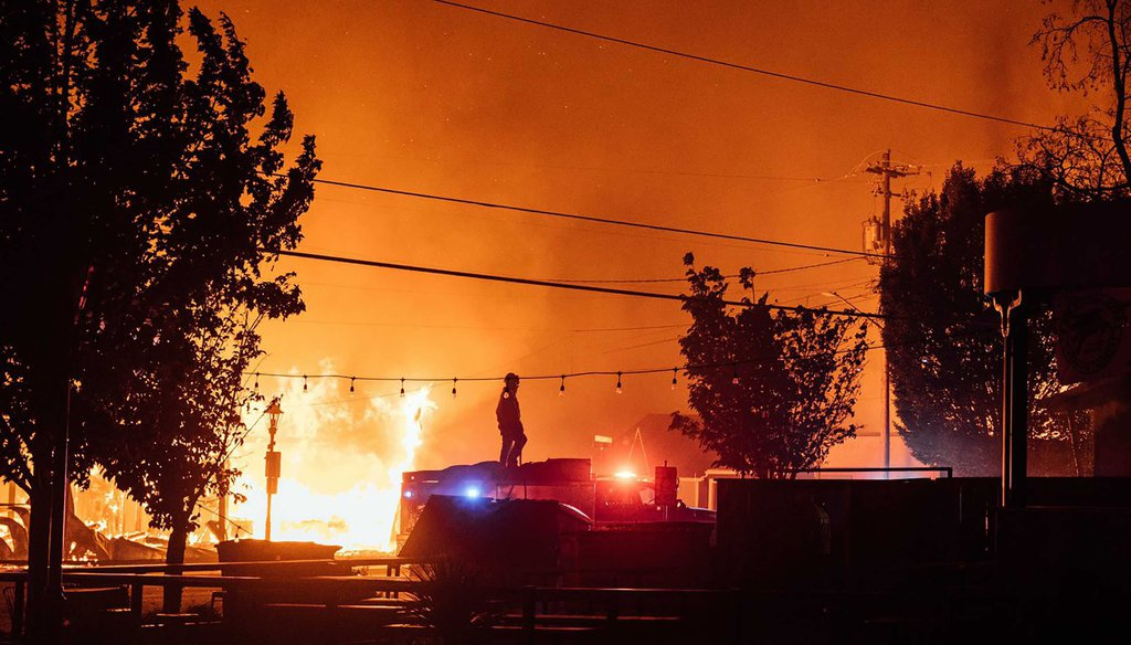 This photo taken by Talent, Ore., resident Kevin Jantzer shows the destruction of his hometown as wildfires ravaged the central Oregon town near Medford on Sept. 8, 2020. (Kevin Jantzer via AP)