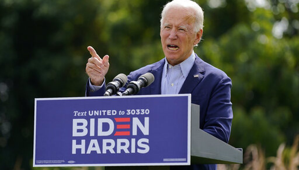 Democratic presidential candidate Joe Biden speaks about climate change, on Sept. 14, 2020, in Wilmington, Del. (AP)