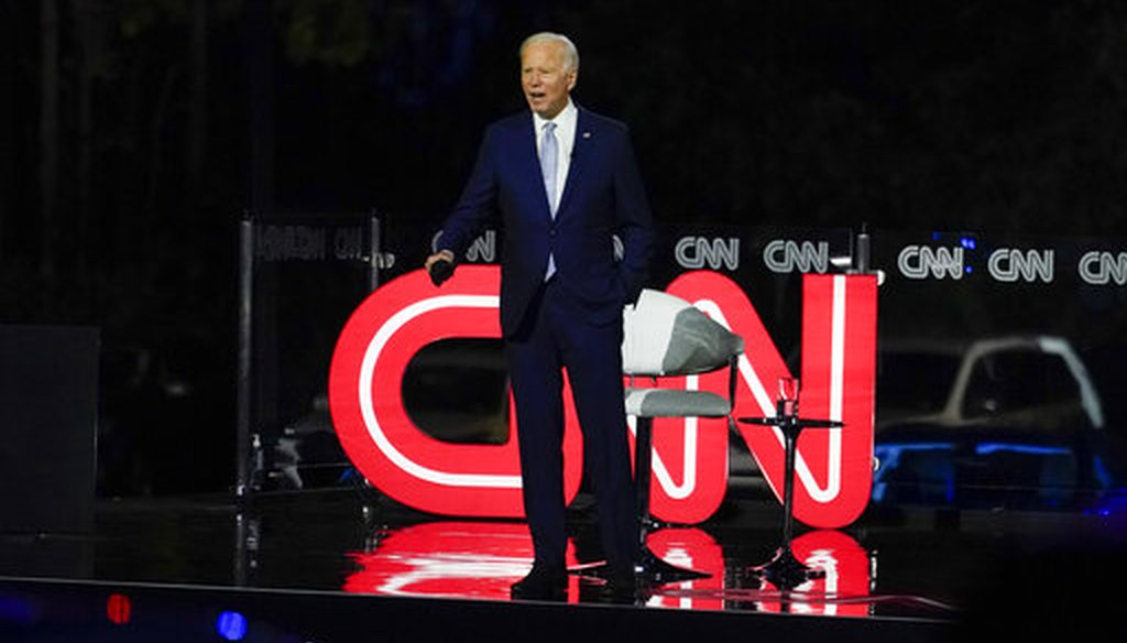 Democratic presidential candidate and former Vice President Joe Biden participates in a CNN town hall in Moosic, Pa., on Sept. 17, 2020. (AP/Kaster)