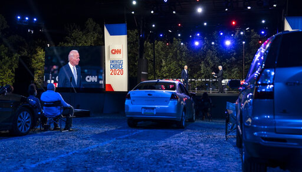 Democratic presidential candidate former Vice President Joe Biden participates in a CNN drive-in town hall moderated by Anderson Cooper in Moosic, Pa., Sept. 17, 2020. (AP/Carolyn Kaster)