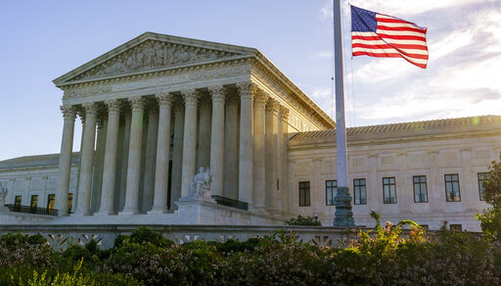 The flag flies at half-staff at the Supreme Court on the morning after the death of Justice Ruth Bader Ginsburg, 87, on Sept. 19, 2020. (AP)