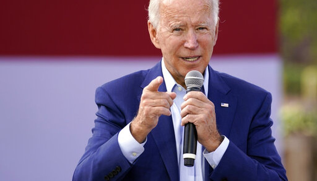 Democratic presidential candidate Joe Biden speaks during a Black economic summit in Charlotte, N.C., on Sept. 23, 2020. (AP)
