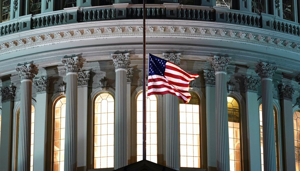 The early morning U.S. Capitol awaiting the arrival of the flag-draped casket of Justice Ruth Bader Ginsburg. (AP)