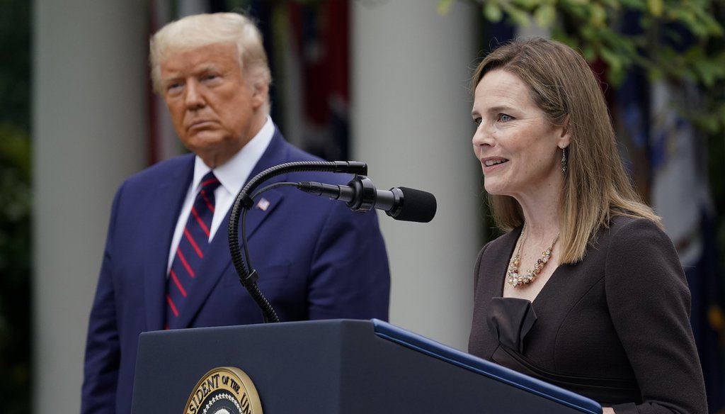 Judge Amy Coney Barrett speaks after President Donald Trump announced Barrett as his nominee to the Supreme Court, in the Rose Garden at the White House on Sept. 26, 2020, in Washington. (AP)