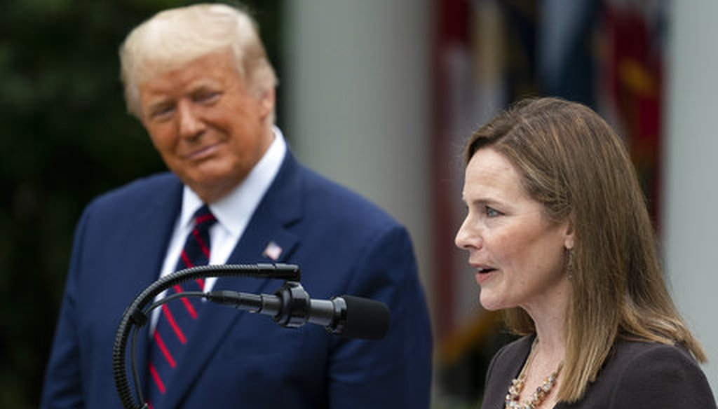 Judge Amy Coney Barrett speaks after President Donald Trump introduced her as his nominee to the Supreme Court, at the White House, Sept. 26. (AP)
