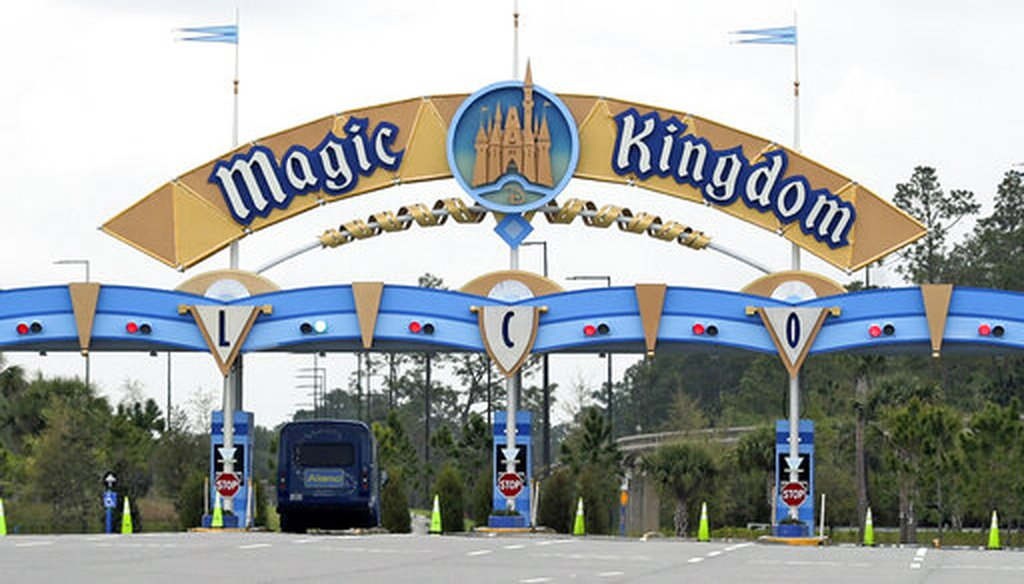 An entrance at Florida's Walt Disney World is closed. Squeezed by limits on attendance due to the pandemic, the Walt Disney Co. said it planned to lay off 28,000 workers in its parks divisions in California and Florida. (AP)