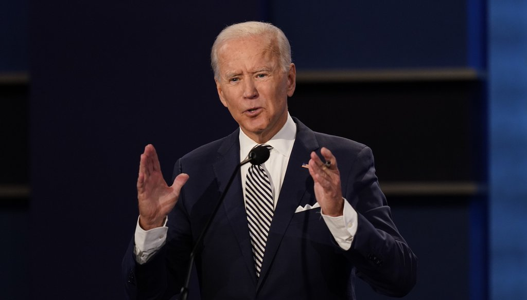 Democratic presidential candidate former Vice President Joe Biden gestures while speaking during the first presidential debate on Sept. 29, 2020, at Case Western University and Cleveland Clinic, in Cleveland, Ohio. (AP)