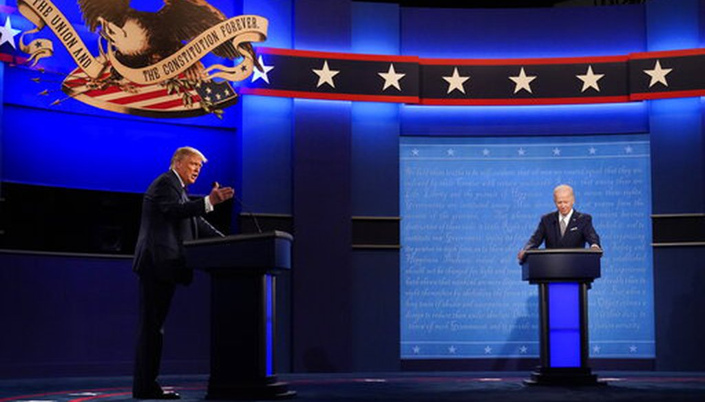 President Donald Trump and Democratic presidential candidate Joe Biden during the first presidential debate on Sept. 29, 2020 in Cleveland. (AP)