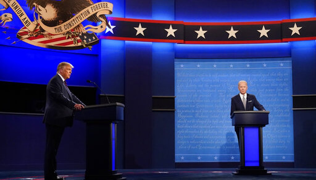 President Donald Trump, left, and Democratic presidential candidate former Vice President Joe Biden during the first presidential debate, Sept. 29, 2020 in Cleveland, Ohio. (AP)
