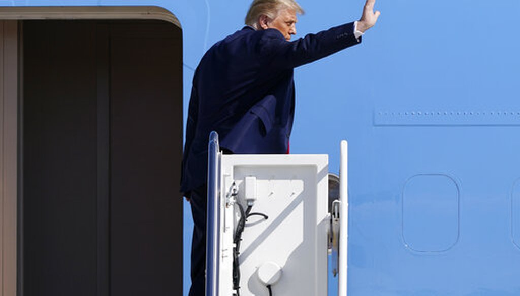 President Donald Trump waves as he boards Air Force One at Andrews Air Force Base, Md., on Sept. 30, 2020, the day after the first presidential debate of 2020. (AP)