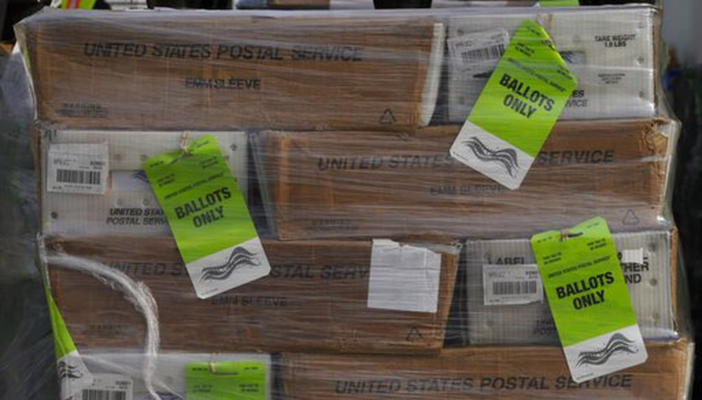 Pallets of ballots ready to be mailed were displayed in Orange County, Calif., on Oct. 5 (AP)