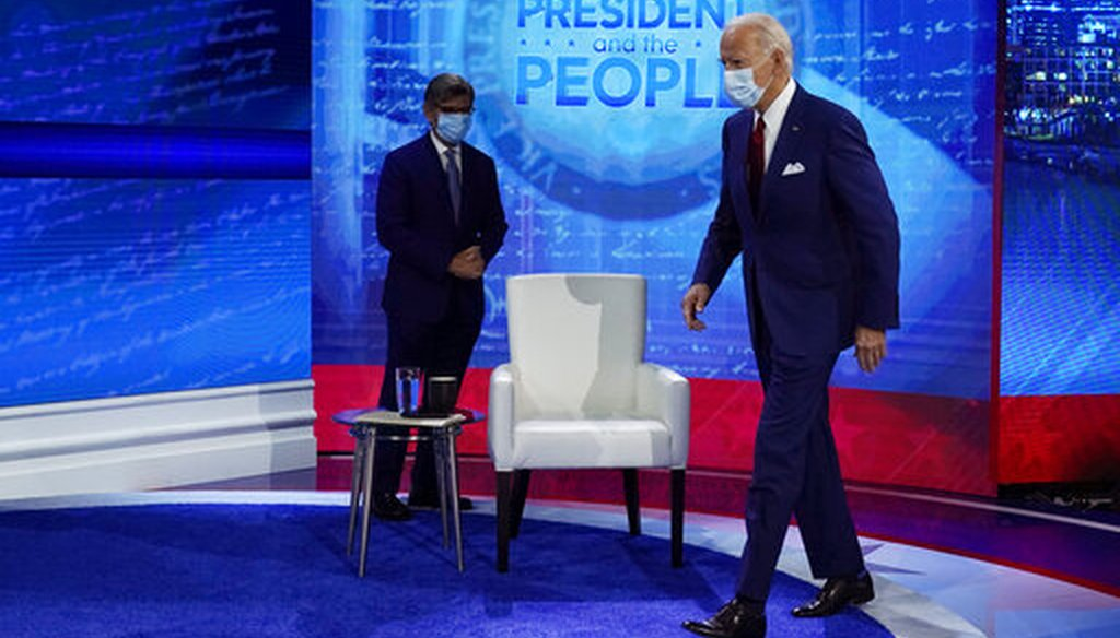 Democratic presidential candidate Joe Biden arrives to participate in a town hall with ABC News anchor George Stephanopoulos in Philadelphia on Oct. 15, 2020. (AP)