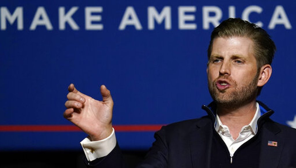 Eric Trump, son of President Donald Trump, speaks at a campaign rally on Oct. 19, 2020, in Manchester, N.H. (AP/Krupa)