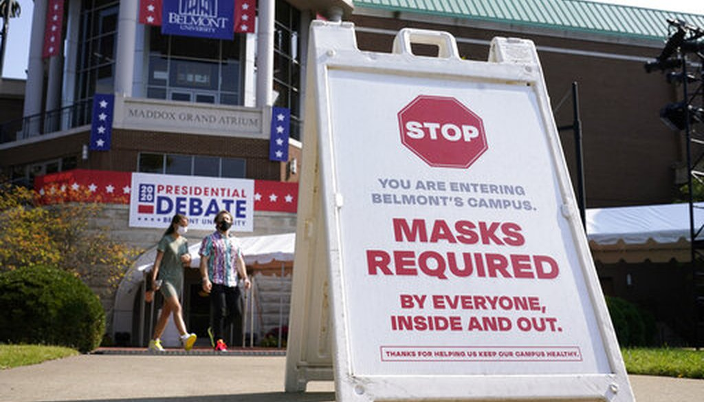 A sign greets visitors outside the Curb Event Center at Belmont University as preparations take place for the second Presidential debate on Oct. 20, 2020, in Nashville, Tenn. (AP)