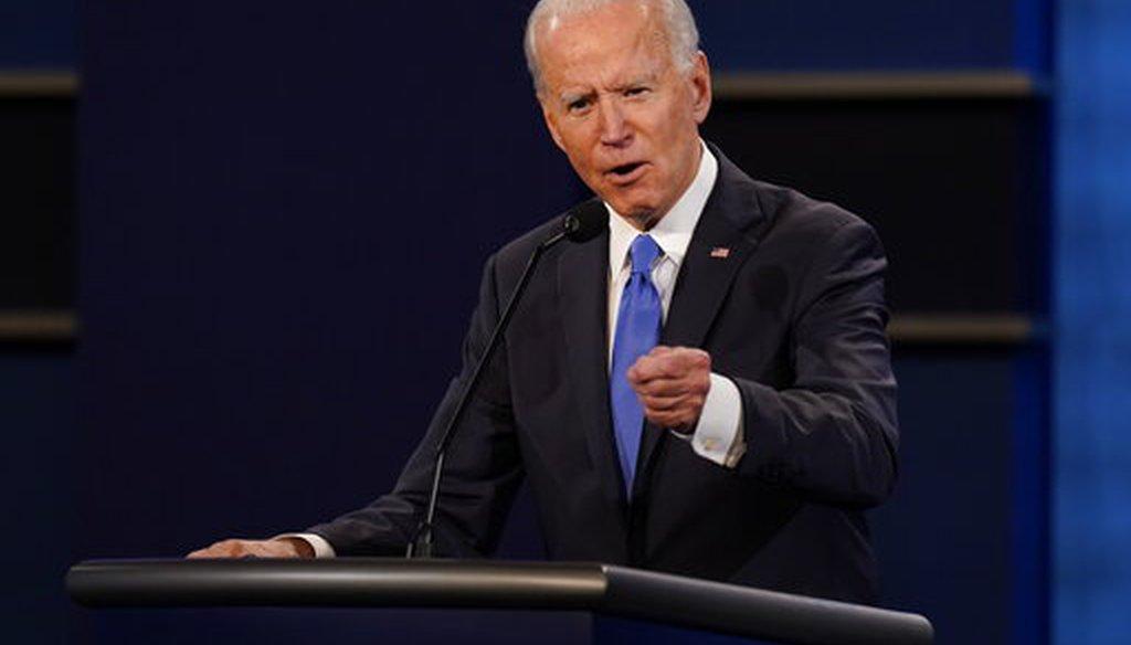 Democratic presidential candidate and former Vice President Joe Biden speaks during the final presidential debate Oct. 22, 2020, at Belmont University in Nashville, Tenn. (AP/Semansky)