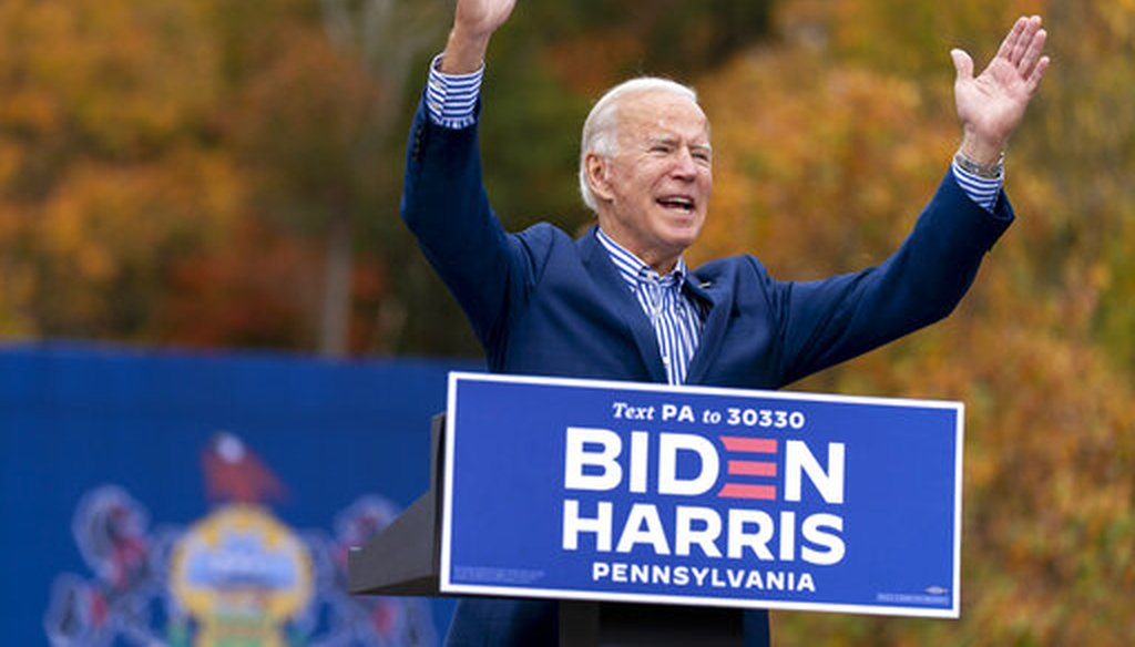 Democratic presidential candidate Joe Biden speaks at a drive-in campaign stop at Bucks County Community College in Bristol, Pa., Oct. 24, 2020. (AP)
