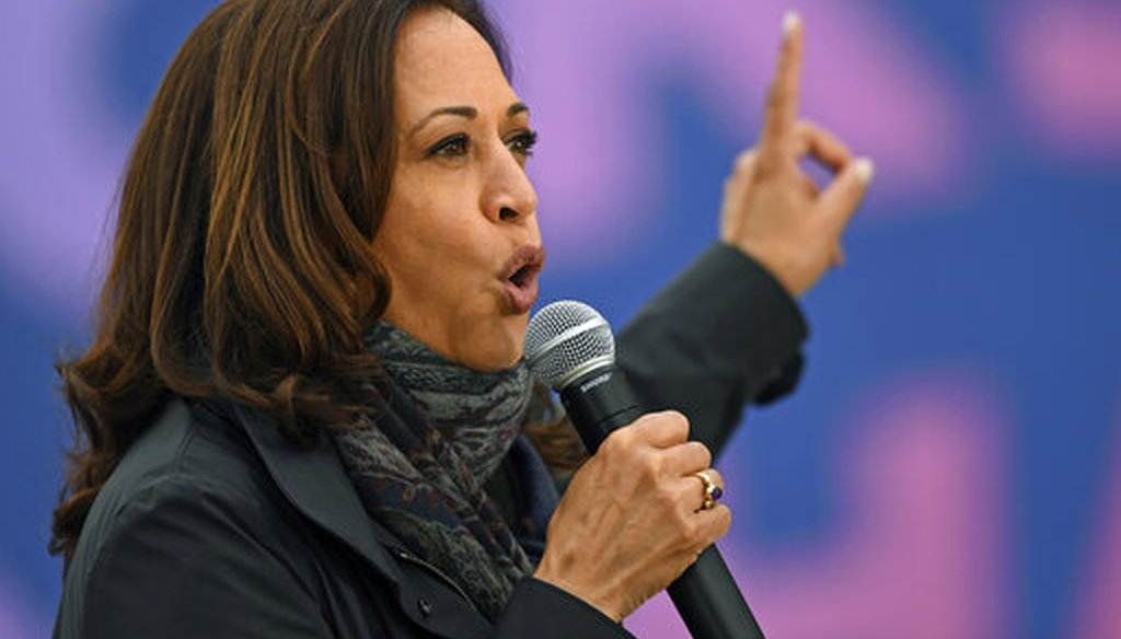 Democratic vice presidential candidate Sen. Kamala Harris, D-Calif. speaks during a campaign event, Oct. 24, 2020, in Cleveland. (AP)