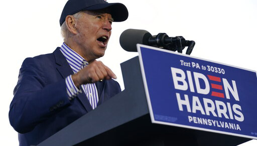 Democratic presidential candidate Joe Biden speaks at a campaign event in Dallas, Pa., on Oct. 24, 2020. (AP)