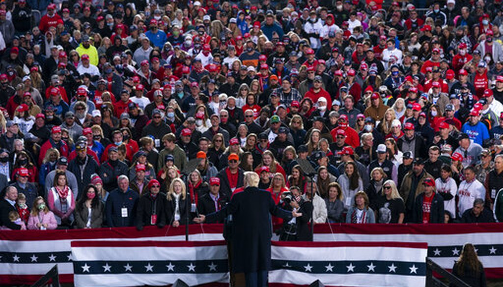 President Donald Trump speaks during a campaign rally at Pickaway Agricultural and Event Center, Oct. 24, 2020, in Circleville, Ohio. (AP)