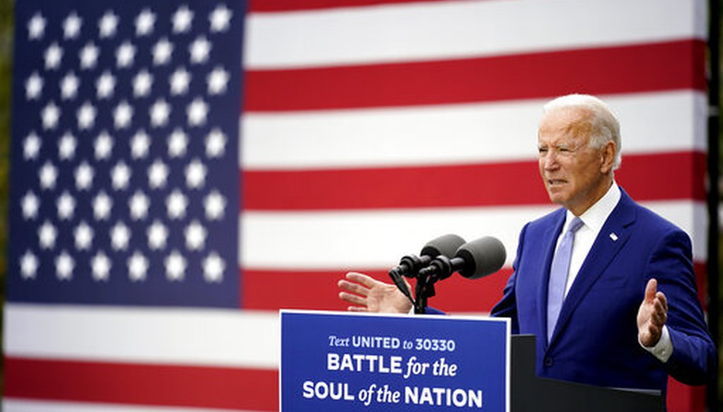 Democratic presidential candidate former Vice President Joe Biden speaks at Mountain Top Inn & Resort, Oct. 27, 2020, in Warm Springs, Ga. (AP)