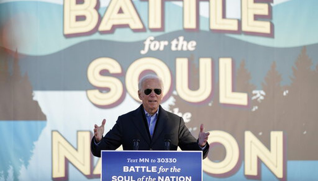 Democratic presidential candidate Joe Biden speaks at a rally at the Minnesota State Fairgrounds in St. Paul, Minn., on Oct. 30, 2020. (AP)