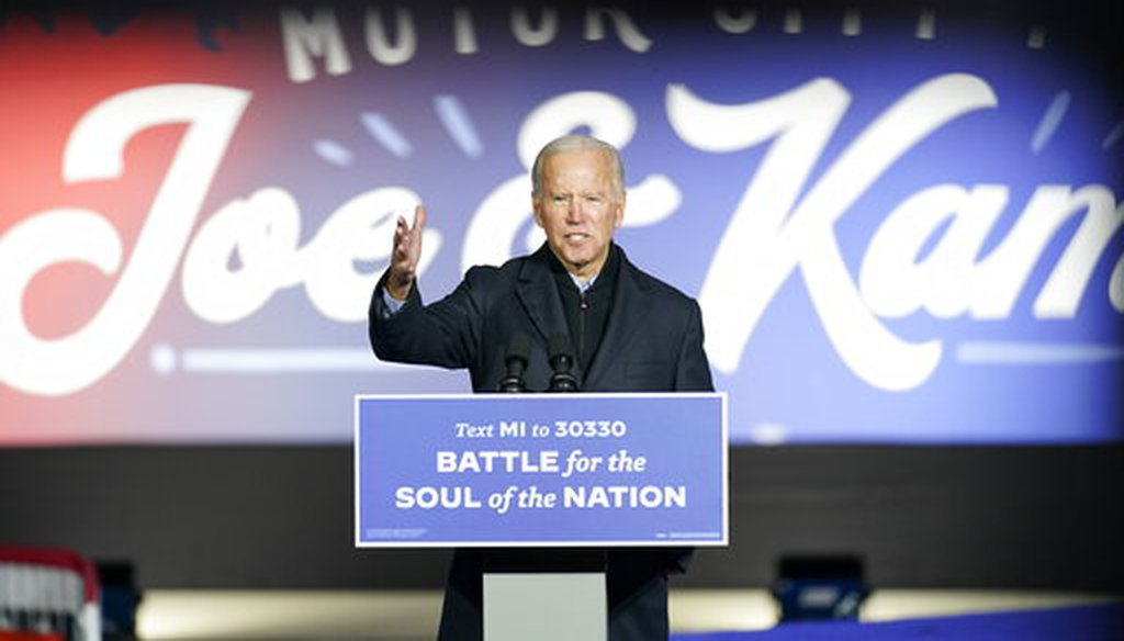 Democratic presidential candidate former Vice President Joe Biden speaks at a rally at Belle Isle Casino in Detroit, Mich., Oct. 31, 2020, which former President Barack Obama also attended. (AP)
