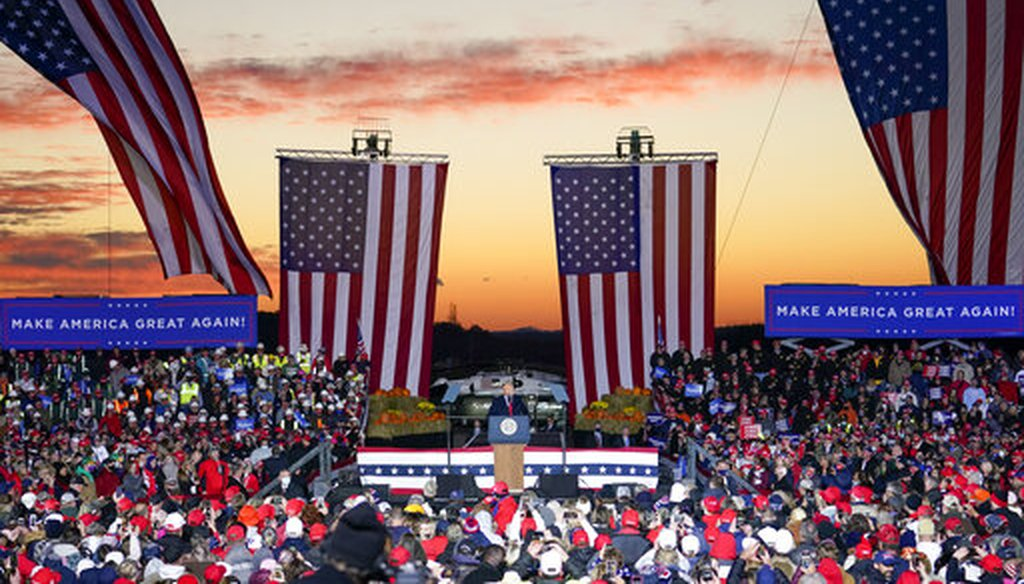 President Donald Trump addresses supporters at an airport rally in Butler County, Pa., Oct. 31, 2020. (AP)
