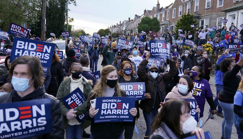 Supporters fill the street as former Vice President Joe Biden speaks during a stop in Philadelphia on Nov. 3, 2020. (AP)
