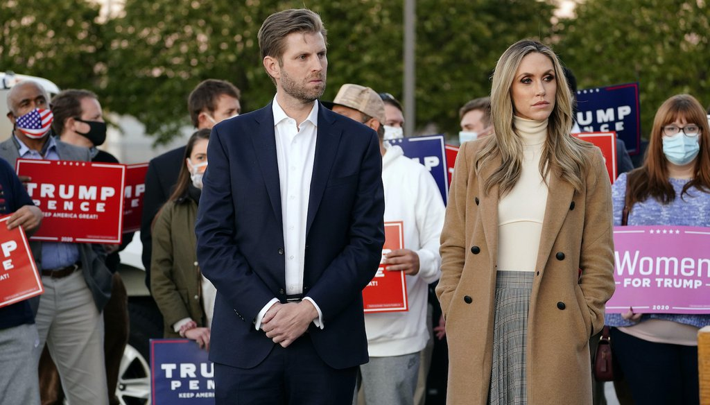 Eric Trump, son of President Trump, and his wife Lara Trump on Nov. 4, 2020.