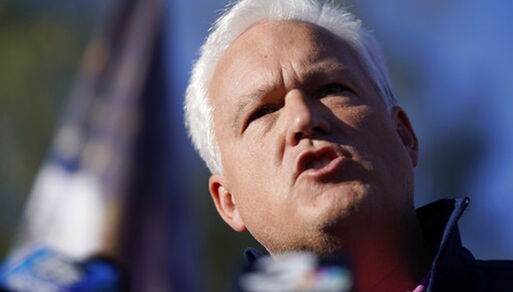 Matt Schlapp, chairman of the American Conservative Union, speaks during a news conference in front of the Clark County Election Department on Nov. 5, 2020, in Las Vegas. (AP/Locher)