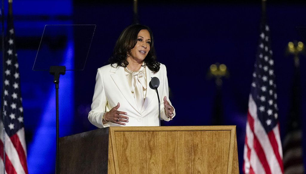 Vice President-elect Kamala Harris speaks on Nov. 7, 2020, in Wilmington, Del. (AP)