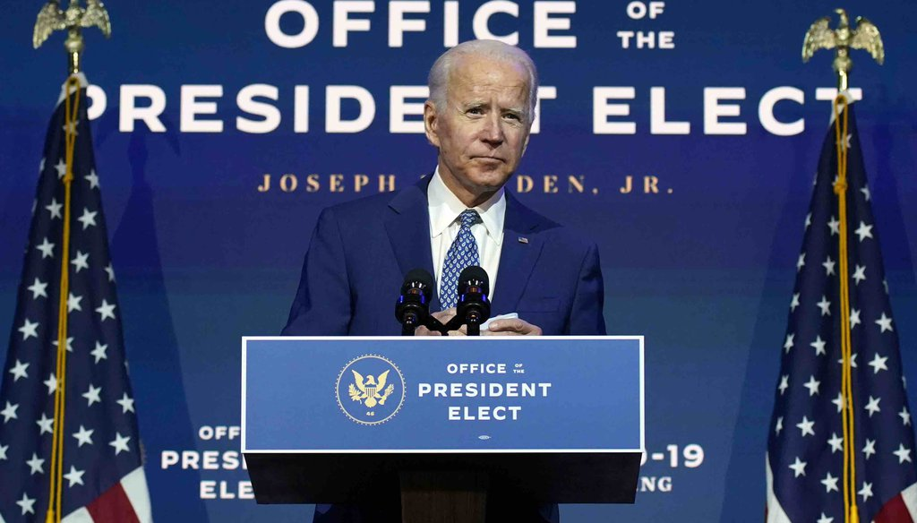 President-elect Joe Biden speaks Nov. 9, 2020, at The Queen theater in Wilmington, Del. (AP)