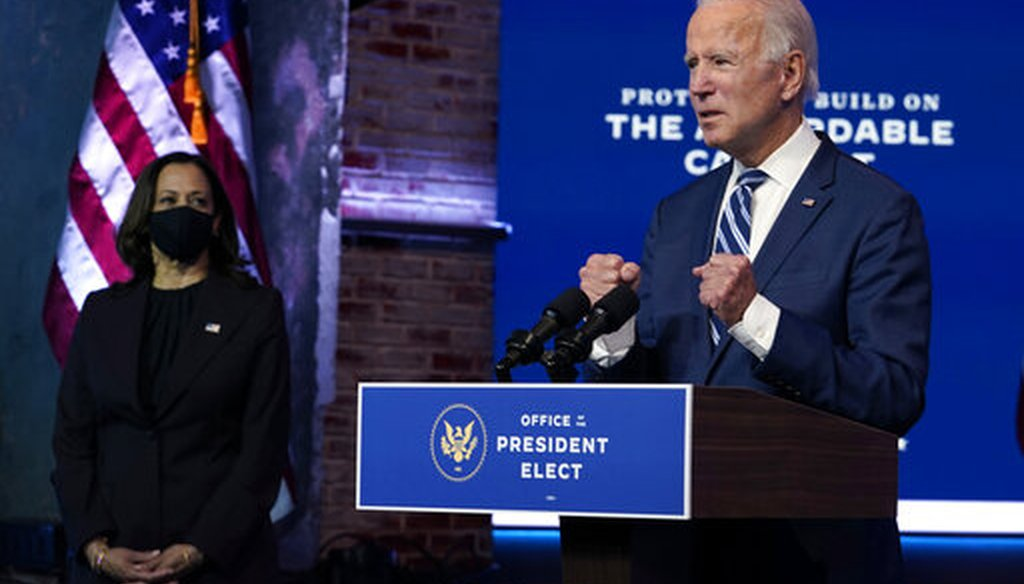 President-elect Joe Biden speaks on Nov. 10, 2020, in Wilmington, Del. (AP )